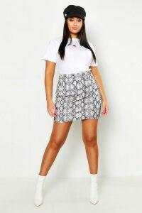 Womens Plus Snake Print Mini Skirt - cream - 26, Cream