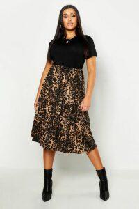 Womens Plus Jersey Animal Print Midi Skater Skirt - brown - 16, Brown