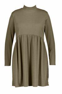 Womens Plus Rib roll/polo neck Smock Dress - green - 20, Green