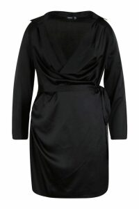 Womens Plus Satin Cowl Neck Tie Waist Shirt Dress - black - 16, Black