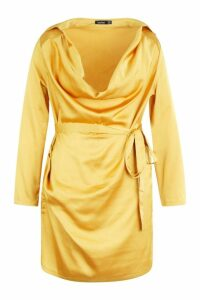 Womens Plus Satin Cowl Neck Tie Waist Shirt Dress - yellow - 18, Yellow