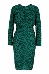 Womens Petite Woven Print Plunge Knot Front Dress - green - 4, Green