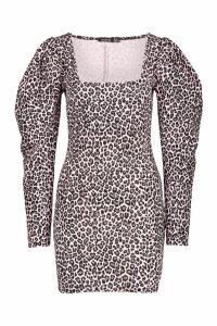 Womens Petite Leopard Jacquard Oversized Sleeve Dress - Pink - 10, Pink