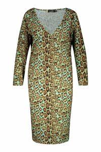 Womens Plus Animal Tie Waist Midi Dress - green - 18, Green