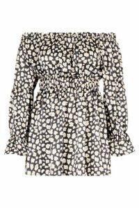 Womens Plus Leopard Satin Ruffle Wrap Dress - black - 26, Black