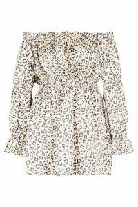 Womens Plus Leopard Satin Ruffle Wrap Dress - beige - 16, Beige