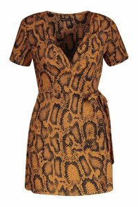 Womens Petite Animal Print Woven Wrap Dress - orange - 6, Orange