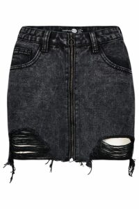 Womens Petite Zip Front Distressed Denim Mini Skirt - black - 8, Black