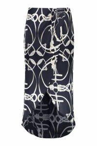 Womens Plus Chain Print Satin Wrap Midi Skirt - black - 22, Black