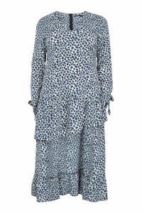 Womens Plus Leopard Ruffle Step Hem Maxi Dress - white - 18, White