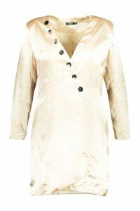 Womens Plus Satin Tailored Button Blazer Dress - beige - 20, Beige