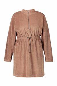 Womens Plus Velour Draw Cord Sweat Dress - brown - 16, Brown