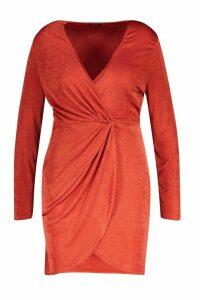 Womens Plus Slinky Knot Front Wrap Dress - orange - 20, Orange
