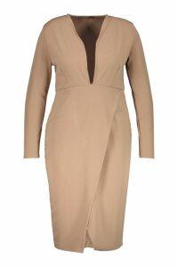 Womens Plus Plunge Wrap Midi Dress - beige - 16, Beige