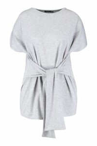Womens Plus Tie Front Sweat Top - grey - 18, Grey