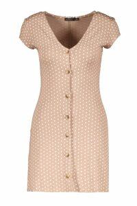 Womens Petite Cap Sleeve Button Polka Dot Shift Dress - beige - 12, Beige