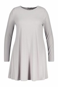 Womens Plus Rib Swing Long Sleeve Dress - grey - 20, Grey