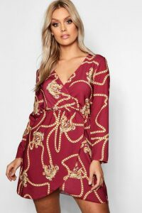 Womens Plus Chain Printed Wrap Dress - red - 24, Red