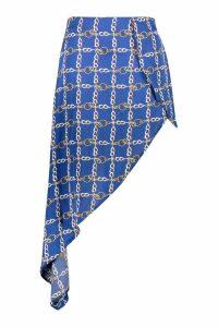 Womens Plus Chain Print Satin Asymmetric Skirt - blue - 22, Blue