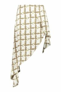 Womens Plus Chain Print Satin Asymmetric Skirt - white - 18, White