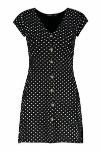 Womens Petite Cap Sleeve Button Polka Dot Shift Dress - black - 14, Black