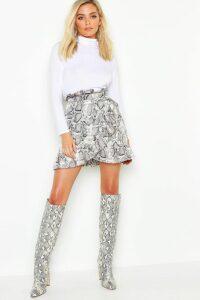 Womens Petite Ruffle Wrap Snake Print Mini Skirt - grey - 12, Grey