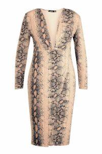 Womens Plus Snake Print Plunge Wrap Midi Dress - beige - 24, Beige