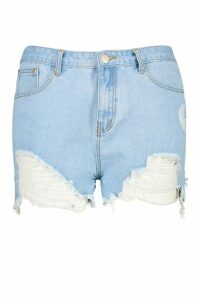 Womens Plus Extreme Rip Denim Short - Blue - 18, Blue