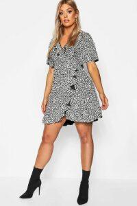 Womens Plus Dalmatian Print Ruffle Tea Dress - black - 20, Black