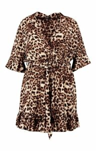 Womens Plus Leopard Print Ruffle Hem Skater Dress - brown - 16, Brown