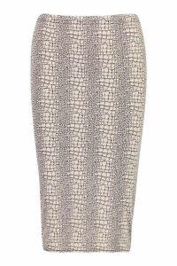 Womens Petite Animal Print Midi Skirt - beige - 10, Beige