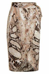 Womens Petite Satin Snake Print Midi Skirt - brown - 14, Brown
