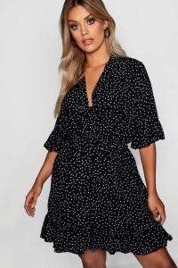 Womens Plus Spotty Wrap Skater Dress - black - 22, Black