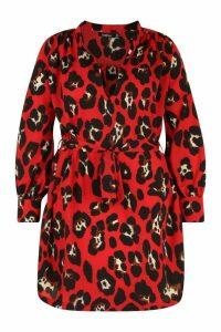 Womens Plus Leopard Tie Waist Shirt Dress - red - 16, Red
