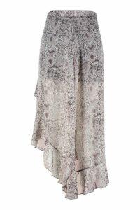 Womens Plus Snake Print Ruffle Skirt - brown - 16, Brown