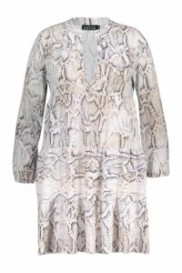 Womens Plus Snake Skin Smock Dress - white - 20, White