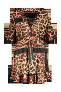 Womens Plus Animal Chain Print Skater Dress - brown - 18, Brown