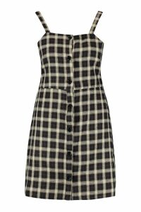 Womens Plus Button Down Check Print Pinafore Dress - black - 20, Black