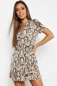 Womens Petite Animal Print Woven Wrap Dress - beige - 12, Beige