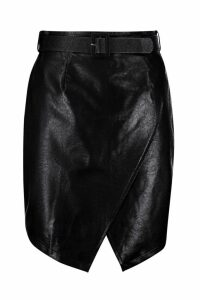 Womens Plus Belted PU Crossover Skirt - black - 20, Black