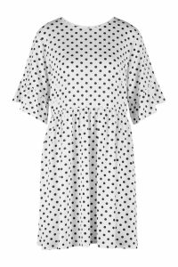 Womens Plus Polka Dot Smock Dress - white - 24, White