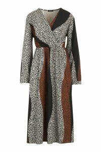 Womens Plus Mix Leopard Print Wrap Midi Dress - brown - 20, Brown