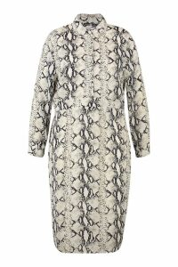 Womens Plus Snake Midi Shirt Dress - beige - 18, Beige