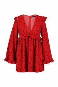Womens Plus Polka Dot Plunge Ruffle Skater Dress - red - 20, Red
