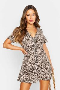 Womens Petite Leopard Print Button Shift Dress - brown - 16, Brown