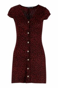 Womens Petite Leopard Print Button Through Swing Dress - red - 14, Red