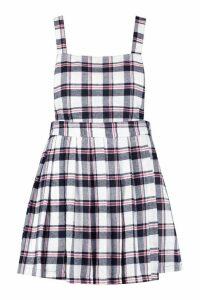 Womens Plus Checked Pinafore Dress - white - 22, White