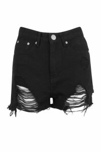 Womens Petite Extreme Distressed Denim Hotpant - black - 6, Black