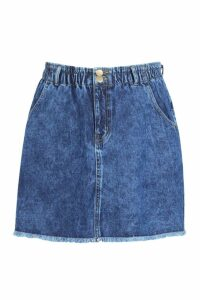 Womens Plus Acid Wash Paper Bag Mini Skirt - blue - 18, Blue