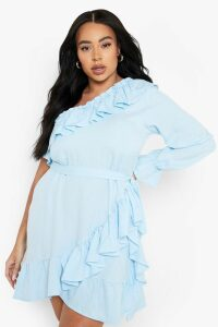 Womens Plus One Shoulder Ruffle Tie Waist Dress - blue - 26, Blue